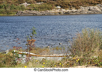rowing boat on a lake in connemara