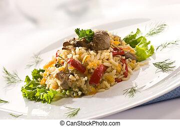 risotto - Delicious risotto in the plate over white