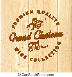 Wooden barrel with vine label. Vector illustration.