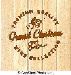 Wooden barrel with vine label. Vector illustration.