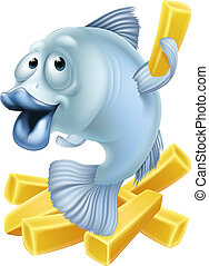 Fish and chips cartoon - Cartoon fish and chips illustration...