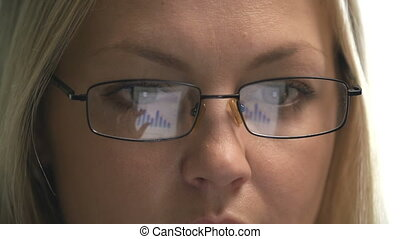 Data Mirroring - Extreme close up of digital data reflected...