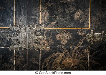 Old wooden furniture door