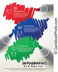 marca, pluma, infographic, Algo, plantilla, escritura,...