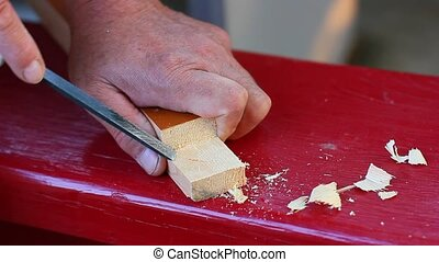 Carpenter working with woodworking