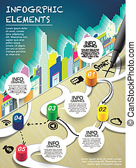 monopoly style infographic with pen writing start on map...