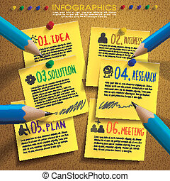 creative template infographic with post-it and pencil over...