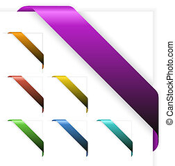 Set of Empty colorful corner ribbons - you can write some...