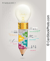 creative template infographic with stairs inside bulb pen