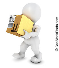 3D Morph Man with cardboard box - 3D Render of Morph Man...