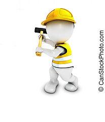 3D Morph Man Builder with sledgehammer - 3D Render of Morph...