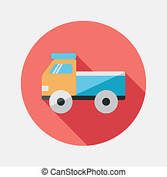 Truck flat icon with long shadow,eps10
