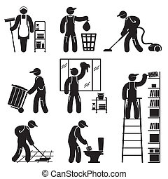 peoples cleaning icons - set black and white vector icons of...