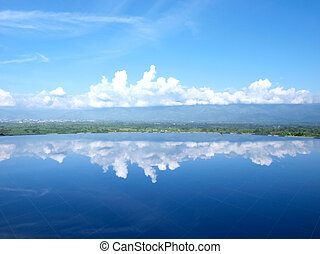 Tranquil scene - Sky reflection in a swimming pool