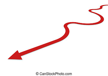 Back on the track - Red arrow symbolizing the way back on...