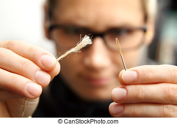 concepto, persistencia, -, aguja, hilo