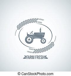 ferme, frais, tracteur, conception, fond