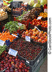 Farmers market - Bunch of fruits and vegetables at farmers...