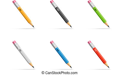 Pencils set - Pencils with diferent classic design. Vector...