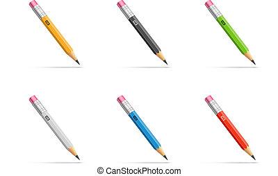 Pencils set - Pencils with diferent classic design. Vector...
