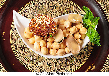 Vegetarian food - Hummus beans and falafel