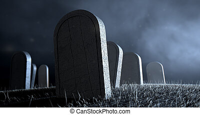 Graveyard Tombstones At Night