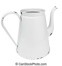 White enamel coffee pot isolated on white Clipping path...