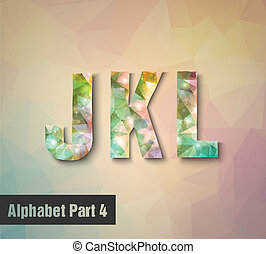 triangular multicolored alphabet J K L