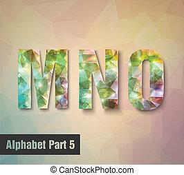 triangular multicolored alphabet M N O