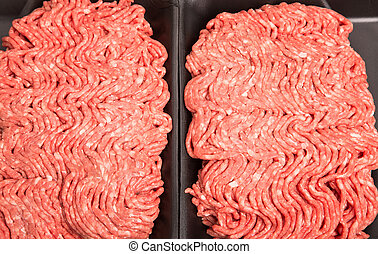 Fresh Ground Beef in Black Styrene Tray - Fresh, raw ground...