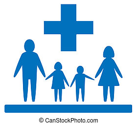 family medical sign - isolated blue medical sign with family...
