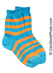 Pair of childs striped socks isolated on white background