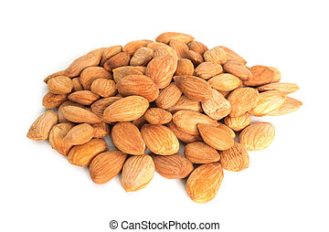 Apricot seeds on white background