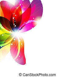 Abstract flower background - Glowing flower on a white...