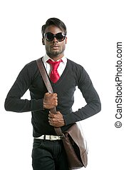 Androginous look black african model fashion look