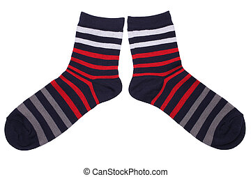 Pair of striped socks isolated on white background
