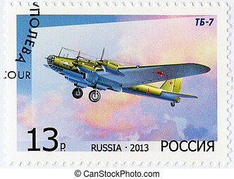 RUSSIA - CIRCA 2013: shows Bomber TB-7, for the 125th Birth...