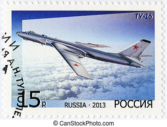 RUSSIA - 2013: shows Bomber Tu-16, for the 125th Birth...
