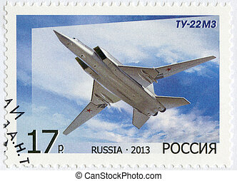 RUSSIA - 2013: shows Bomber Tu-22M3, for the 125th Birth...