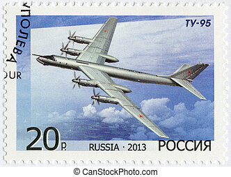 RUSSIA - 2013: shows Bomber Tu-95, for the 125th Birth...