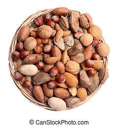 Set of nuts in wicker