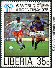LIBERIA - 1978: shows Soccer, Poland and Italy, dedicated...