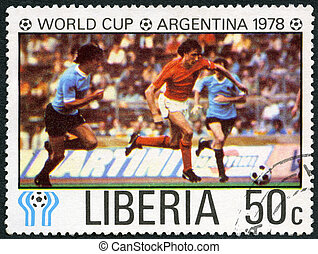 LIBERIA - 1978: shows Soccer, Netherlands and Uruguay,...
