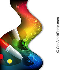 Palette and brushes in the rainbow wavy background
