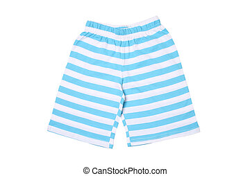 Childrens wear - striped shorts isolated on white background...