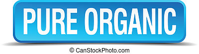 pure organic blue 3d realistic square isolated button