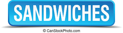 sandwiches blue 3d realistic square isolated button