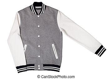 Men's varsity jacket isolated on white background