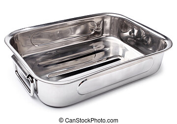 Stainless steel roasting pan on white background