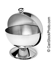 Stainless steel sugar bowl on white background